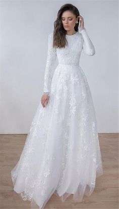 Wedding gowns with sleeves - white long sleeves birdal dress applique tulle jewel wedding dress party dress evening dress full length prom – Wedding gowns with sleeves White Lace Wedding Dress, Wedding Gowns With Sleeves, Long Wedding Dresses, Long Sleeve Wedding, Bridal Dresses, Dress Wedding, Tulle Wedding, Wedding Hijab, Mermaid Wedding