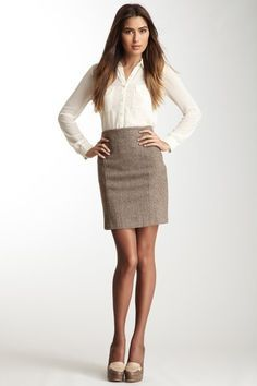 Love pencil skirts and the blouse sleeves being sheer make it perfect for winter wear in B.R.