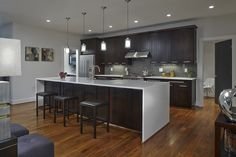 quartz countertops with waterfall feature