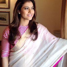 Kajol in mashru blouse with Chanderi sari, absolutely beautiful #mashru #chanderi