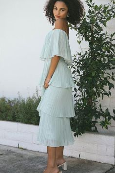 Shop the Vera Pleated Ruffle Dress - boutique clothing featuring fresh, feminine and affordable styles. Wedding Guest Style, Next Wedding, Boutique Dresses, Boutique Clothing, Ruffle Dress, Ruffles, Affordable Fashion, White Dress, Feminine