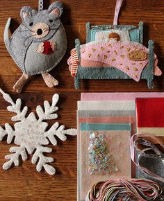 Night Before Christmas Ornament Set Kit by Alicia Paulson. Love her designs! I've made three of her kits in the past. Moderate to advanced hand sewing and crafting skill required. These are heirloom quality ornaments. Darling!