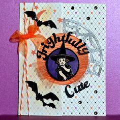 Halloween card.  Scaredy cat from CTMH.  Cricut Artiste.  ScrappyHorses.ctmh.com