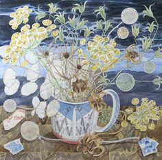 Angie Lewin 'Festival of Britain Mug with Garden Seedheads' watercolour http://www.angielewin.co.uk/products/festival-of-britain-mug-with-garden-seedheads
