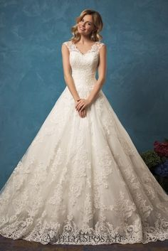 Amelia Sposa V-neck A-line Lace Wedding Dresses Melania / http://www.deerpearlflowers.com/amelia-sposa-2017-wedding-dresses/2/