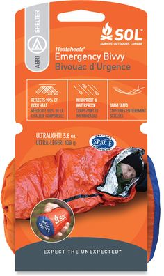 SOL Emergency Bivvy at REI.com. Super lightweight over bag that I use in conjunction with a lightweight down sleeping bag to stay warm on those cold nights on the trail.