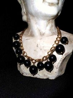 Chunky Black Lucite Necklace-Spheres-Balls-Accessory- Vintage Costume Jewelry- Bold Fashion Choker-Retro Fashion-Orphaned Treasure-033017K by OrphanedTreasure on Etsy