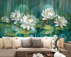 Arte floral de textura amarilla y gris pintura acrílica sobre | Etsy