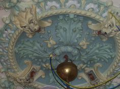 Detail ceiling, central ornament, the blue room. Jugendstil manor at Westerlee, The Netherlands. Ornaments are made of papier collé stuc or carton-pierre. Photo by Lut Gielen. www.lutgielen.nl