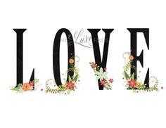 Floral LOVE Printable