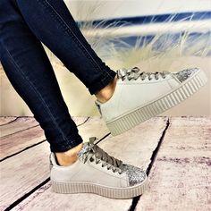 1f105a3950ec3 Baskets glitters rubans gris Chaussures Femme