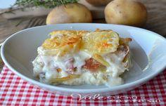 Parmigiana di patate con stracchino e mortadella