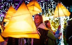 Lantern parade at the Eden Project made from willow withy + tissue paper site gives instructions on how to make