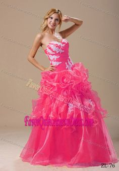 Appliqued Decorate Up Bodice Dress for Quinceanera with Hand Made Flowers