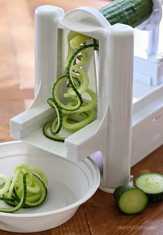 The Paderno Vegetable Slicer with chipper blade to make spirals....... Spiralized Greek Cucumber Salad with Lemon and Feta | Skinnytaste  (recipe is here too)