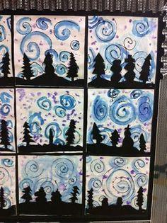 Snowy Silhouettes collage pictures - Apex Elementary Art: Winter Scenes by Mrs. Classroom Art Projects, School Art Projects, Art Classroom, Kindergarten Art, Preschool Art, Art 2nd Grade, Grade 2, Club D'art, Arte Elemental