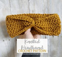 Knotted Headband Crochet Pattern - Multiple Sizes by Rescued Paw Designs #lionbrandyarn