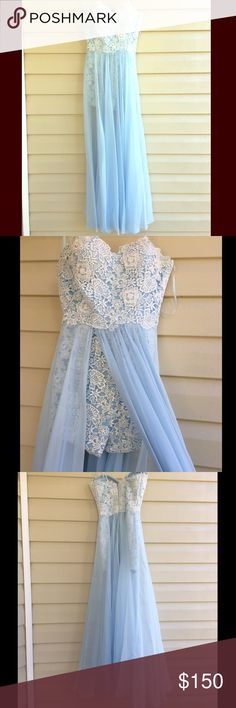 Strapless Romper Prom Dress Powder Blue size 4 prom Romper/Prom Dress. Strapless and short white Lace covered Romper with chiffon overlay to give the dress look. Has straps that can be added to the dress! Worn one time! Smoke Free Home! La Femme Dresses Prom