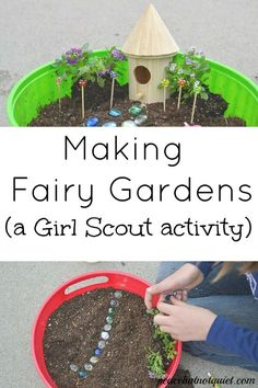 Need an activity to do with your Girl Scouts or other large group? Making fairy gardens is tons of fun, inspires children's creativity, and teaches them a lot as well! I will definitely be making one of these as a fun summer activity at home too!