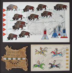 Old Buffalo Range Native American Decor, Native American Symbols, American Indian Art, Native American Indians, Native Americans, Native Symbols, Native Art, Fabric Painting, Painting Prints