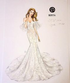 760 個讚,7 則留言 - Instagram 上的 NataliaZ.Liu(@nataliazorinliu):「 My computer-free hand drawn (as always) illustration of the luxurious romantic wedding gown of the… 」