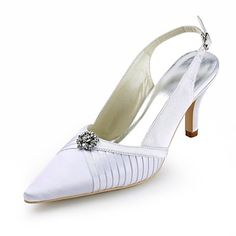 Satin Women's Wedding Stiletto Heel Pumps with Rhinestone Shoes(More Colors) – GBP £ 24.14