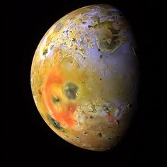 Io, one of Jupiter's many moons and larger than our own. With over 400 active volcanoes, Io is the most geologically active object in the Solar System. This extreme geologic activity is the result of tidal heating from friction generated within Io's interior as it is pulled between Jupiter and its moons Europa, Ganymede and Callisto. Several volcanoes produce plumes that  climb as high as 300 miles above the surface. Io has more than 100 mountains, some of which are taller than Mount Everest.