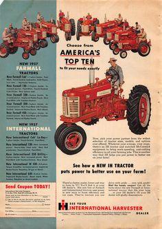 Big Tractors, Case Tractors, Farmall Tractors, Antique Tractors, Vintage Tractors, Vintage Advertisements, Vintage Ads, International Tractors, International Harvester
