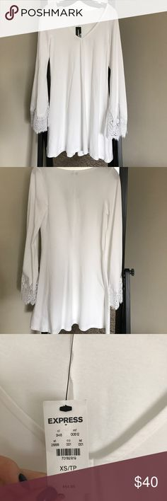 NWT EXPRESS White Bell Sleeve Dress, XS NWT EXPRESS White Bell Sleeve Dress. Beautiful soft cotton. Bell lace  sleeves, size XS but fits like Small Express Dresses Mini