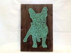 🐕 Corda Arte do Buldogue Francês de Turquesa da Arte da Parede e Decoração para a Casa Francês Valentões ... / 🐕 String Art French Bulldog Turquoise Wall Art And Home Decor French Bullies…