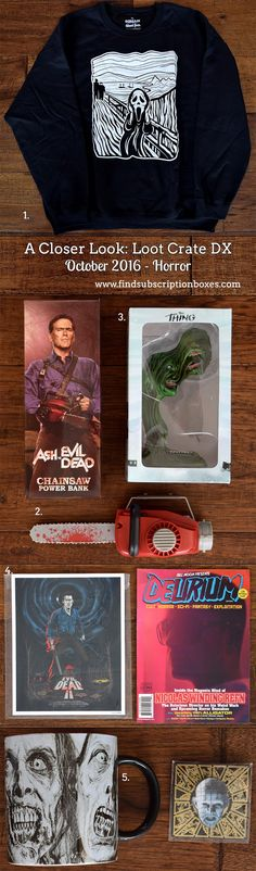 October's Loot Crate DX revealed! Last month's HORROR crate had a The Walking Dead zombie mug, Scream sweat shirt, The Thing statuette & more. Read our review to see the loot! http://www.findsubscriptionboxes.com/a-closer-look/loot-crate-dx-october-2016-review-coupon/?utm_campaign=coschedule&utm_source=pinterest&utm_medium=Find%20Subscription%20Boxes&utm_content=Loot%20Crate%20DX%20October%202016%20Review%20and%20Coupon  #LootCrate
