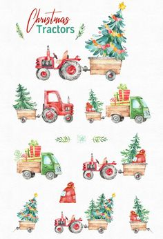 Watercolor holiday country clipart winter truck vintage gift diy tree decorations new year merry cute fun Christmas Clipart, Christmas Art, Vintage Christmas, Christmas Decorations, Tree Decorations, Winter Clipart, Christmas Quotes, Christmas Countdown, Handmade Christmas