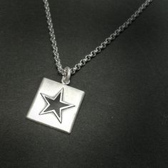 BLACK STAR Matte Silver Square Pendant by Norman Man Jewellery also available in www.silverchamber.co.uk