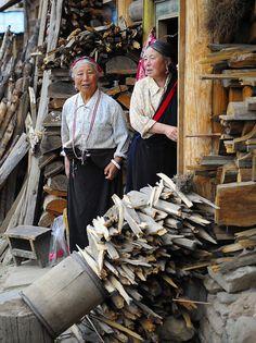 Wood for winter . Tibet