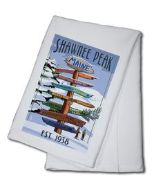 Towel (Shawnee Peak, Maine - Ski Destinations Sign - Lantern Press Artwork)