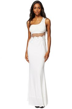 ScottyDirect - One Shoulder Evening Dress with Floral Lace Insert, $55.95 (http://www.scottydirect.com/one-shoulder-evening-dress-with-floral-lace-insert/)
