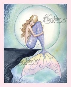 Mermaid in the Moon Light Print from Original Watercolor Painting by Camille Grimshaw