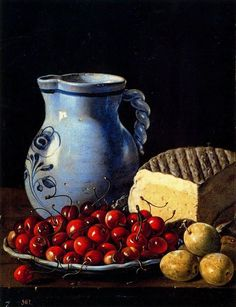 Luís Meléndez, pitcher, cherries, plums and cheese, Prado Museum. Spanish Cheese, Dutch Still Life, Talavera Pottery, Apple Art, Still Life Fruit, Spanish Art, Baroque Art, Food Painting, Spanish Painters