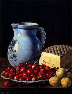 Luís Meléndez, pitcher, cherries, plums and cheese, Prado Museum. Spanish Cheese, Dutch Still Life, Talavera Pottery, Apple Art, Still Life Fruit, Baroque Art, Spanish Painters, Spanish Artists, Food Painting