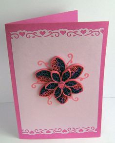 A beautiful handmade quilled birthday greeting card with quilling flower. Perfect greeting card for various occasions like Birthday, Mothers' Day or a simple Thank You.