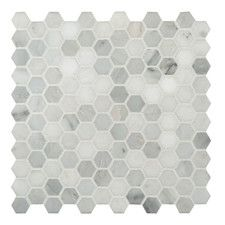 "Arabescato Carrara 1"" x 1"" Hexagon & Dot Marble Mosaic Tile"