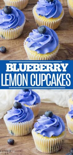 These Lemon Blueberry Cupcakes combine two bright, zesty flavors and are topped with a sweet buttercream frosting. This dessert is perfect for Easter, but could also be used for a gender reveal party, child's birthday or graduation! Blueberry Frosting, Lemon Blueberry Cupcakes, Lemon Desserts, Köstliche Desserts, Dessert Recipes, Lemon Cupcake Recipes, Dessert Simple, Healthy Cupcakes, Cool Cupcakes