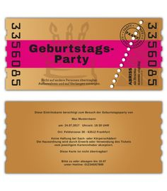 Einladungskarten Geburtstag Als Ticket Abriss Karte Party Einladung