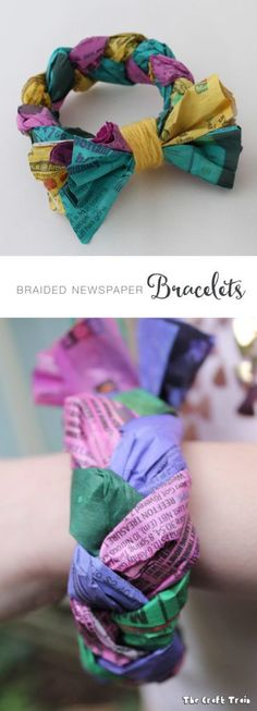 Braided newspaper bracelets