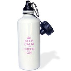 3dRose wb_157697_1 Keep Calm and Cheer onCarry on CheeringGift for CheerleadersPink Fun Funny Humor Humorous Sports Water Bottle 21 oz White *** You can find more details by visiting the image link.Note:It is affiliate link to Amazon.