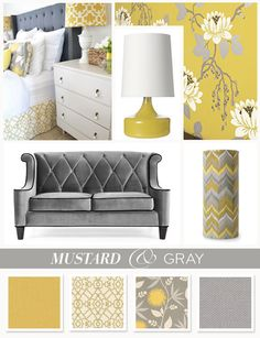 Yellow & gray home decor inspiration Living Room Grey, Living Room Decor, Living Spaces, Bedroom Decor, Dining Room, Mustard And Grey Bedroom, Yellow Gray Bedroom, Guest Bedrooms, Room Colors