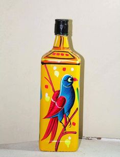 Colorful, stylish & uniquely handmade with Bangladeshi Rickshaw Paint, this glass bottle is for decorating your living room. Painted Glass Bottles, Glass Bottle Crafts, Wine Bottle Art, Diy Bottle, Wall Decor Crafts, Pottery Painting Designs, Jar Art, Bottle Painting, Wine Glass