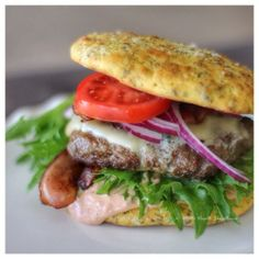 low-carb hamburger and bread