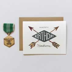So cute! The perfect card to give your boyfriend or husband. Handsome Arrows Birthday Card by Little Arrow
