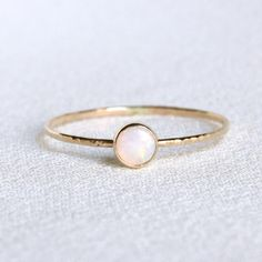 Solid 14k Gold Natural Fiery AAA Opal Orbital Ring - Simple Beautiful 14K Gold Stack Ring with a Natural Earth Mined 4mm Fiery White Opal